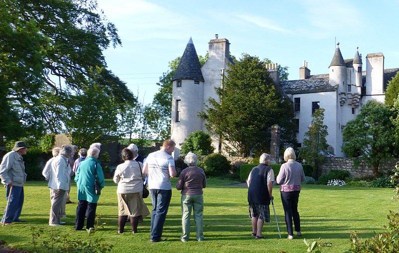 Heritage club members admiring Allardice Castle.